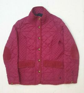 Joules Women's Moredale Quilted Jacket Size 12 Deep Pink Lined Embroidered
