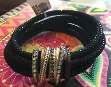 Brighton NEPTUNES rings leather BRACELET With Swarovski Crystals NWT