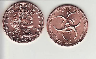 """PROOF  ZomBuck  #2  MORGUE ANNE  1 oz Copper Round /""""Apocalypse/"""" Coin w// COA"""
