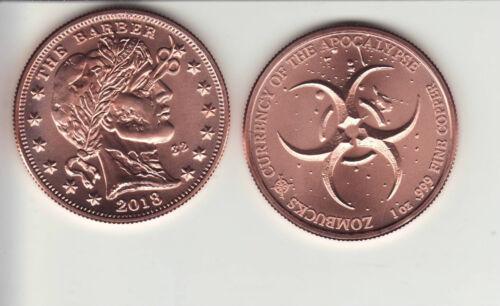 """ZomBuck  #4  THE BARBER  1 oz Copper Round /""""Apocalypse/"""" Coin"""