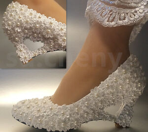 wedding shoes size 11 ivory white pearls lace wedge wedding shoes bridal 1133