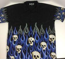 Steve Barry's Club Shirt Skulls Flames Black Blue Men XL Authentic Lounge Wear