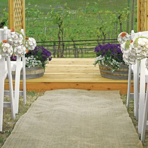 75ft × 40 Burlap Aisle Runner 100% Natural Jute Wedding Rustic Vintage Fabric