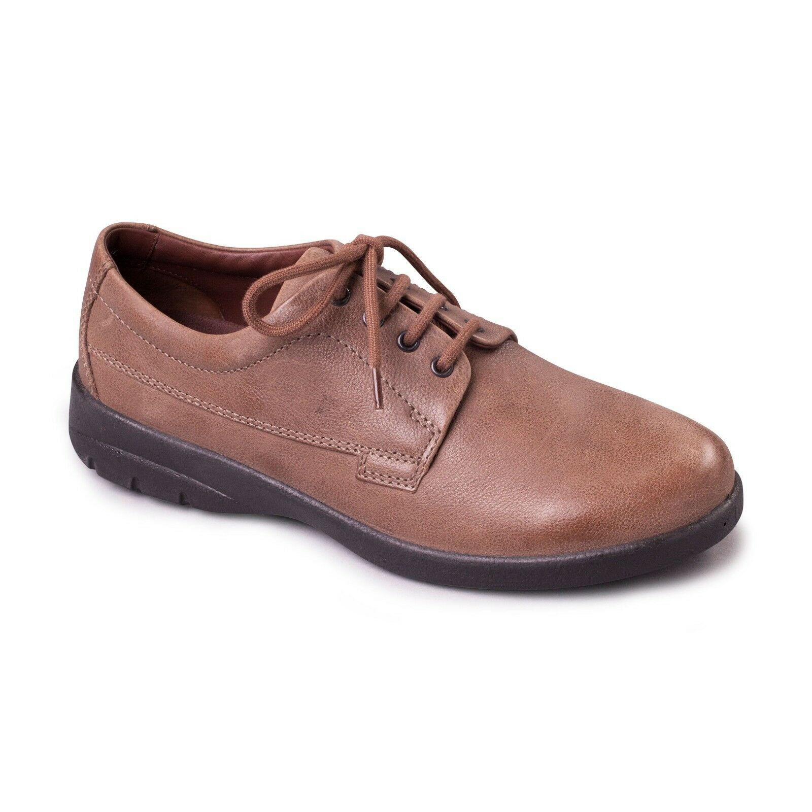 Padders Mens Lunar Leather Wide G H Fitting Comfort Casual Tie Up shoes Taupe