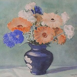 Ivor-Mackenzie-Original-Still-Life-Watercolour-Painting-Flowers-In-A-Blue-Vase