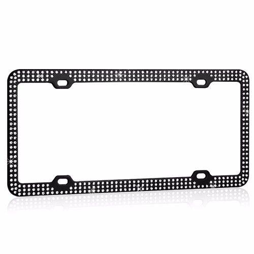 Black Metal License Plate Frame Triple Row Bling Glitter Crystal RhineStone
