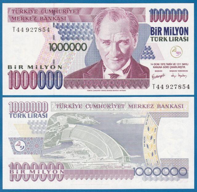 Turkey 1000000 1 Million Lira 1970 P-213 Banknotes UNC 2002