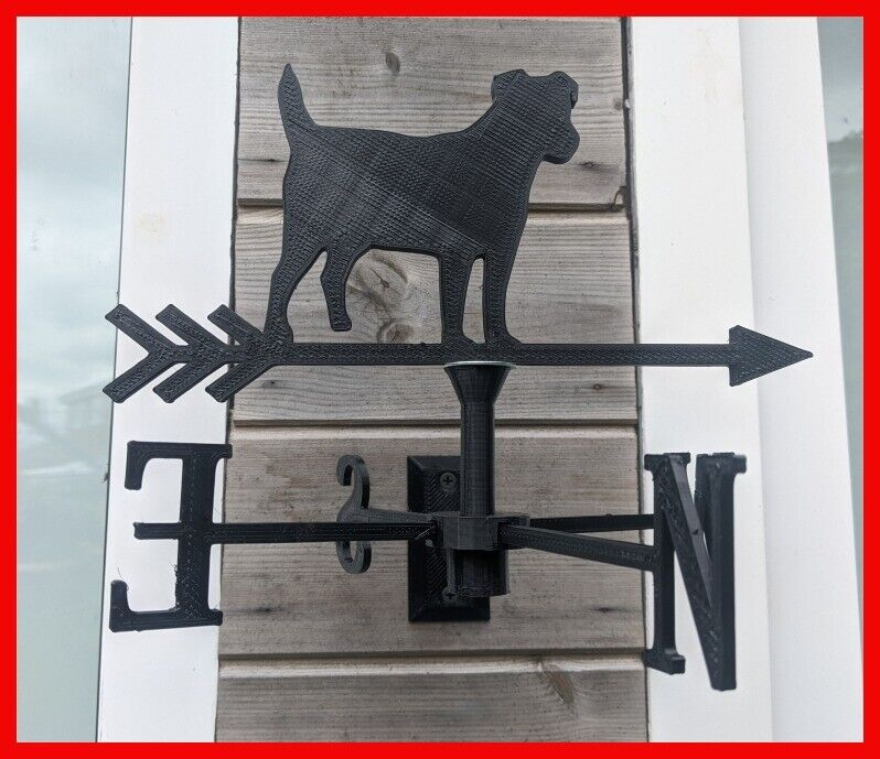 Jack Russell Terrier Dog Acrylic Garden Weather Vane Wall, Pole or Post Mounted