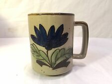 Vintage Otagiri Style Blue Brown Speckle Flower Floral Coffee Cup or Mug