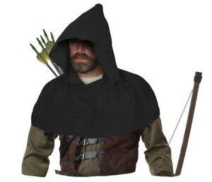 Adults-Black-Medieval-Archers-Cowl-Fleece-Arrow-Hood-Sherwood-Forest