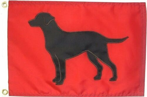 "12""x18""Black Lab Dog Flag on Red Hand Sewn in the USA Labrador Retriever"