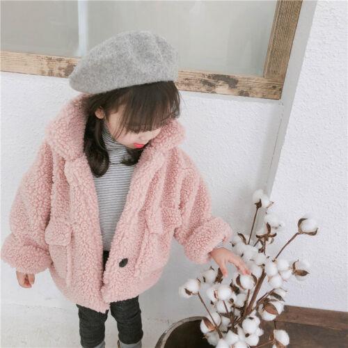 Toddler Baby Kids Girls Cotton Thick Fur Top Winter Warm Jacket Coat Outerwear