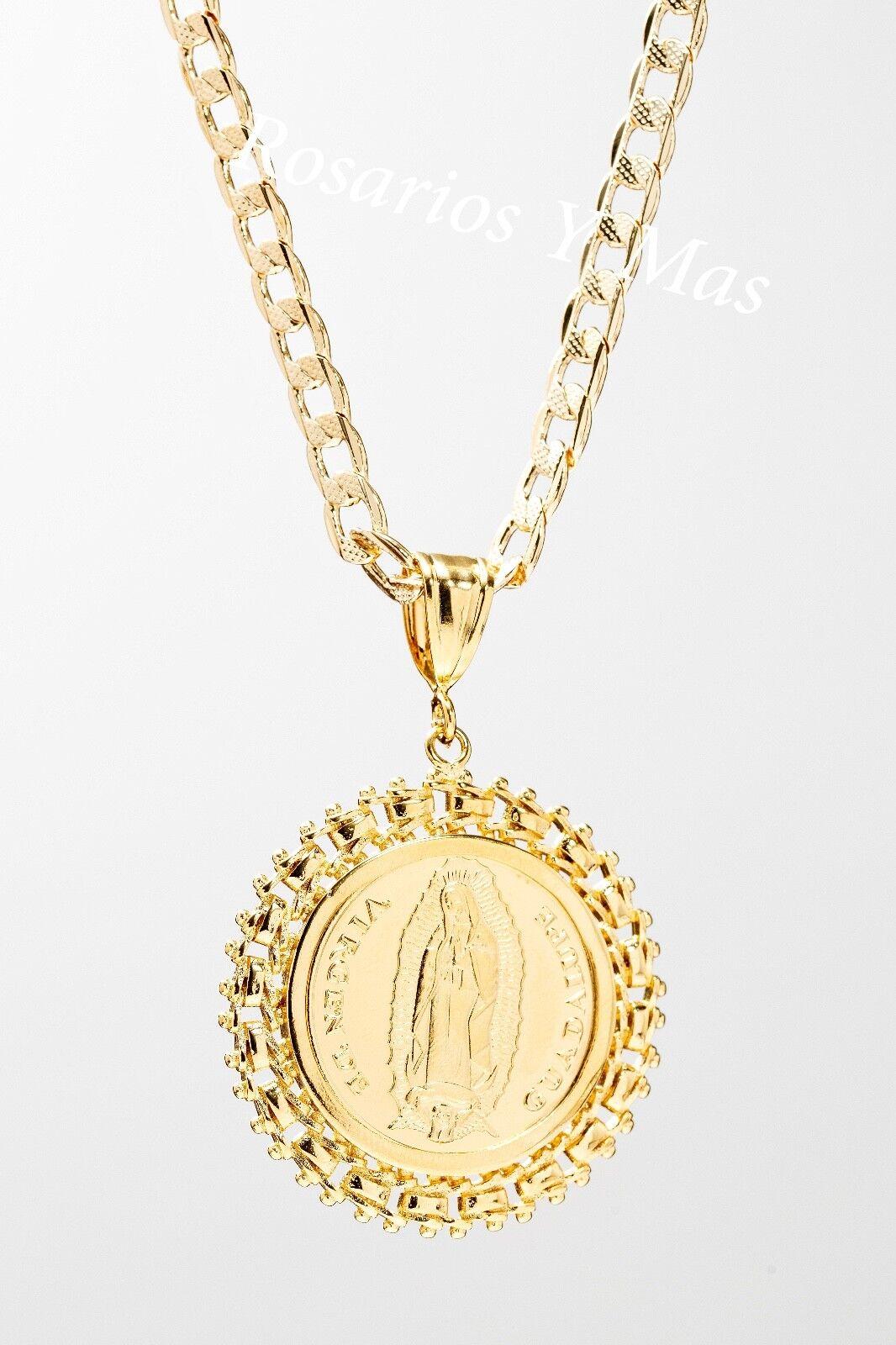 Virgen De Guadalupe y Veinte Pesos Centenario Medalla y Cadena gold Laminado .