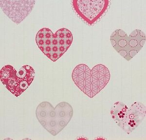 Image Is Loading P S HAPPY KIDS PATCHWORK STYLE HEARTS WALLPAPER PINK