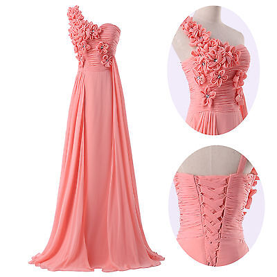 Women one shoulder flower Evening Formal Ball Gown Prom Bridesmaid Party Dress