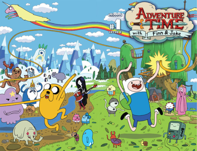 "Adventure Time - With Finn & Jake TV Series Fabric poster 32"" x 24"" Decor 14"