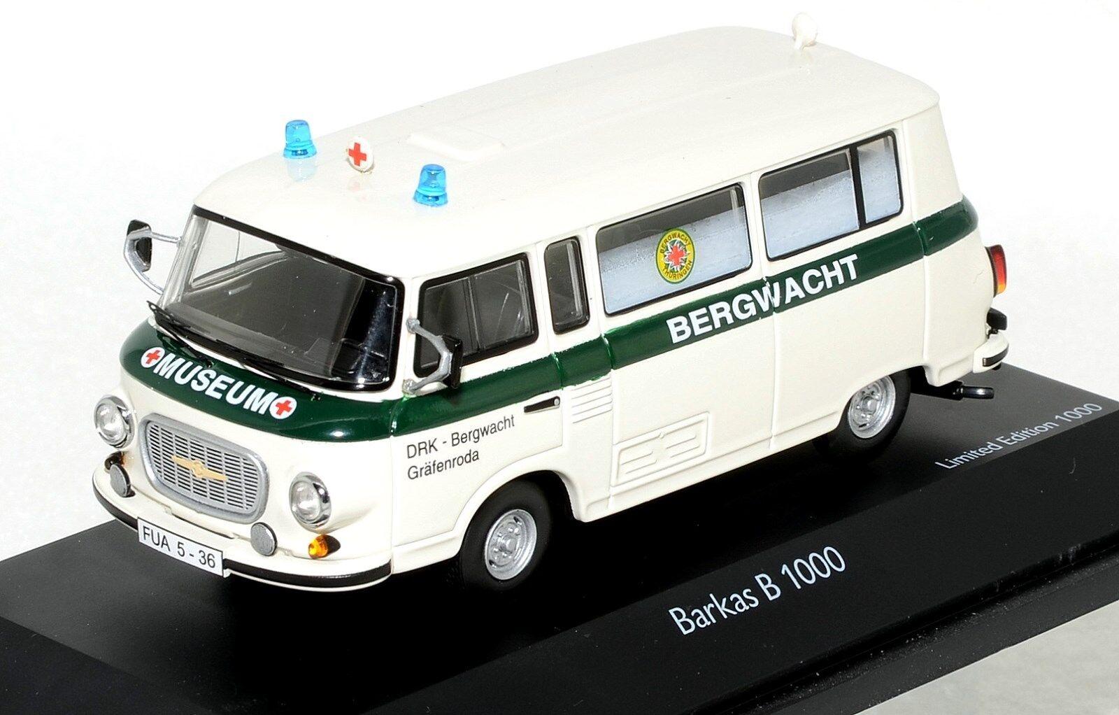 Sällsynta 1  43 skala SCHUCO 450365300 Barkas B1000 DRK Bergwacht MIB