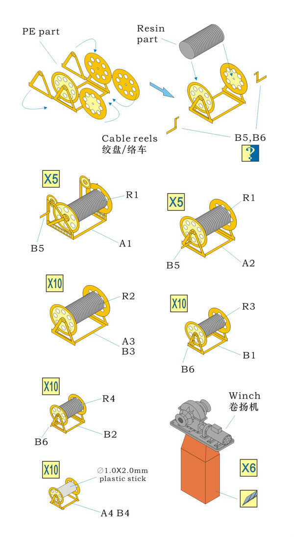e96e93b4147 Rainbow PE 1 350 IJN Cable Reels   Winch 2pe 40 6resin Parts RB3551 ...