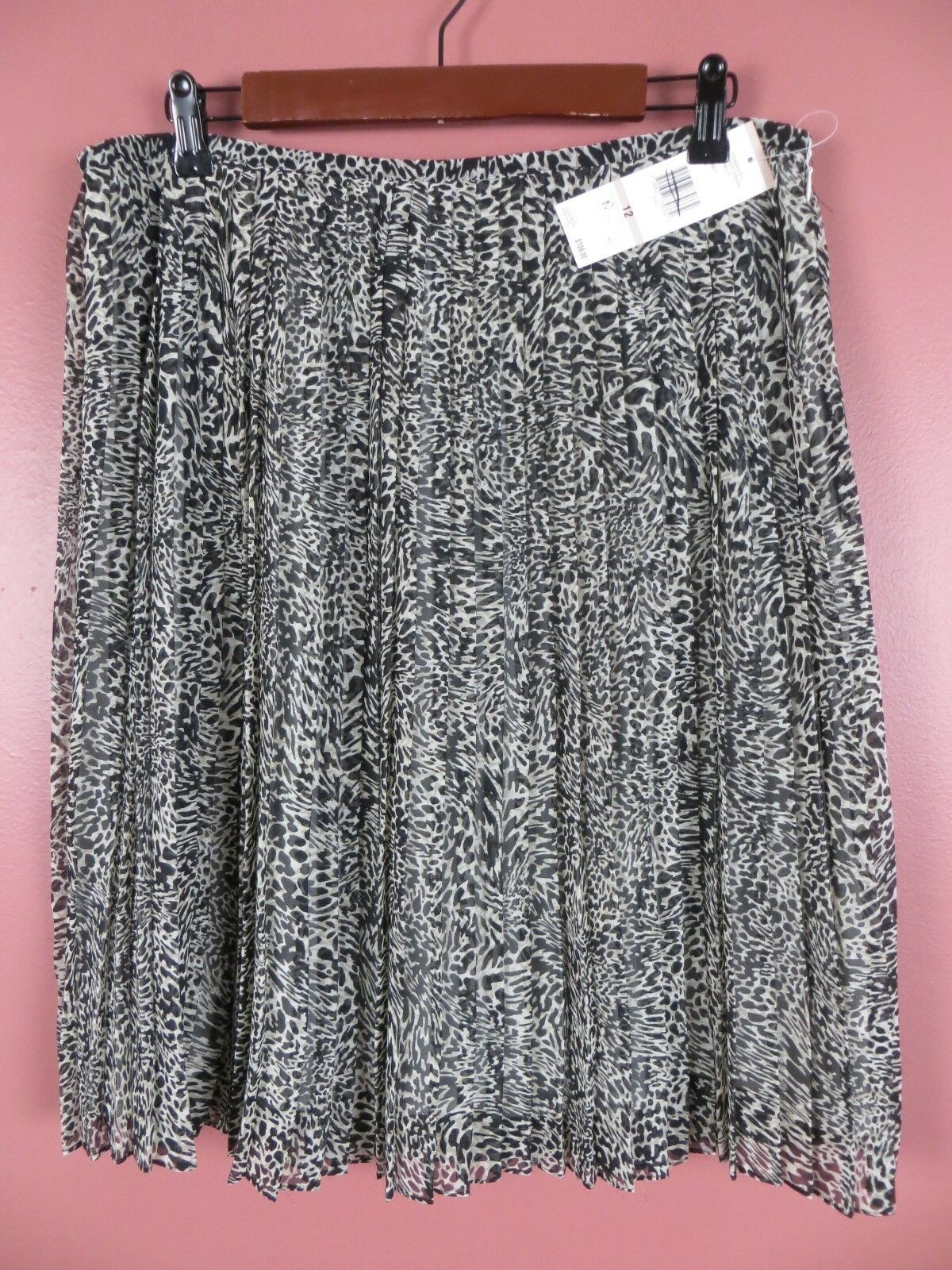 SK12844- NWT JONES NEW YORK Womens Pleated A-Line Skirt Multi-color Geo 12  109
