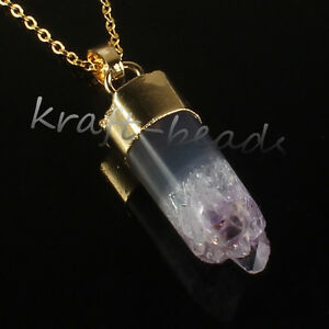 Natural-Druzy-Amethyst-Quartz-Crystal-Cylindrical-Stone-Pendant-Necklace-Jewelry