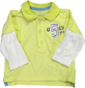 enfants-POLO-MANCHES-LONGUES-T-HAUT-t-shirt-garcons-Jaune-De-Filles-blanc