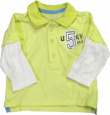 Kids Polo Long Sleeve T Shirts Tops Boys//Girls Yellow//White with Logo 0-6 Month