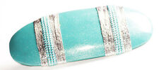 Gorgeous Ocean Blue & Silver String Bind/Shimmery Quality Hair Barrette(Zx301)