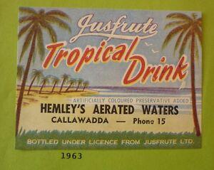 OLD-AUSTRALIAN-SOFT-DRINK-CORDIAL-LABEL-1960s-HEMLEYS-TROPICAL-CALLAWADDA