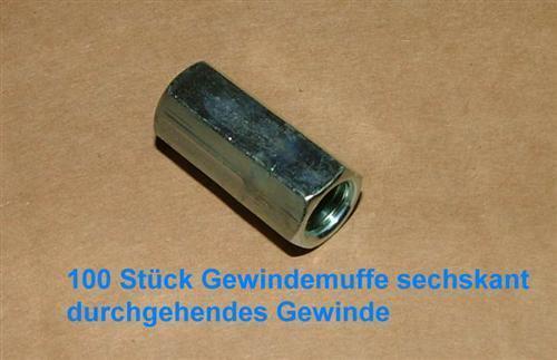 M6x40 Gewindemuffen sechskant VPE 100 Stck 1Muffe ≙0,212€ 5563#