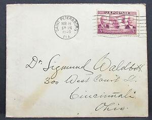 US-Postal-History-Cover-Saint-Petersburg-Panama-Canal-Stamp-3c-USA-Brief-H-7961