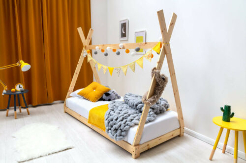 Kids Childrens Wooden Tent Tipi House Canopy Single Bed Natural Pine