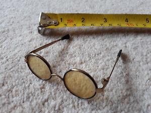 Vintage Metal Frame Amber GLASSES FOR DOLL OR TEDDY. Harry Potter. John Lennon.