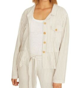 Sanctuary Women's Jacket Beige Size XS Wild Spirit Linen Striped $139 #383