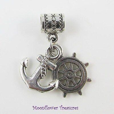 Ships Anchor & Helm Charm fit European Charm Bracelet