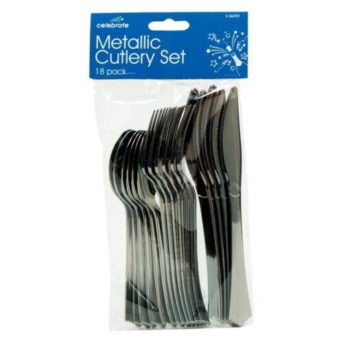 18 x argent métallique couverts set party forks couteaux cuillères jetables uk post
