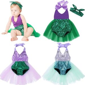 Baby Girls Mermaid Costume Romper Bodysuit Shiny Jumpsuit Headband Party Outfits