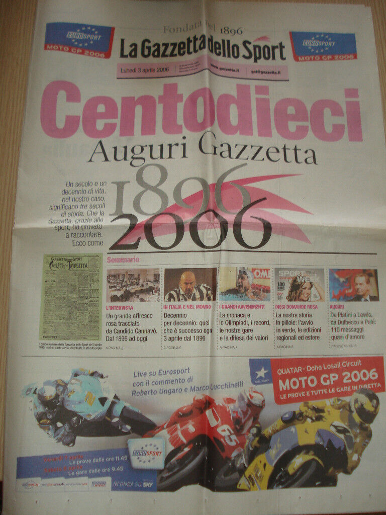 RARE INSERT SPECIAL GAZZETTA DELLO SPORT ONE HUNDRED AND TEN 110 YEARS