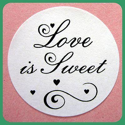 100 WEDDING ENVELOPE SEALS love is sweet STICKERS FAVOURS bomboniere LABELS #1