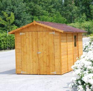 Garage casetta in legno 234x430 box porta doppia x moto ebay for Casette in legno usate ebay