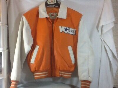Vintage Pro Player Size Large Orange Univeristy Of Tennessee College Football Jacket With Patch And Embroidered Tenneesse On Back EUC