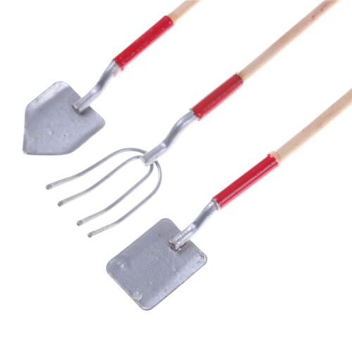 3pcs 1:12 Dollhouse Miniature Shovels Pitchfork Barn Fairy Gardening Tools LE