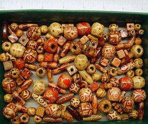 Lot 1000 Bamboo Craft Art Beads Mixed Shapes Sizes Natural Design
