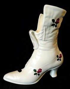 Vintage-Ceramic-Boot-Flower-Victorian-Shoe-Vase-Pottery-Planter-White-Bootie