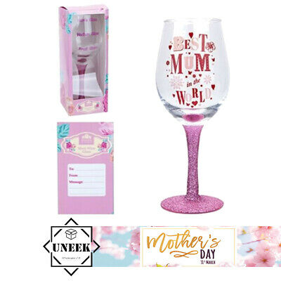 MOTHERS DAY WINE GLASS WITH GLITTER BASE Gift Box Best Mum In The World Present
