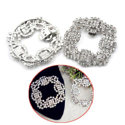Shoes Clips Rhinestone Crystal Flower Shoes Buckle Bridal Wedding Decor-PLBLUS