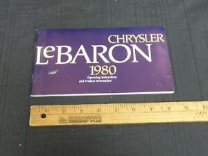 1980-CHRYSLER-LEBARON-Original-Car-Owners-Manual