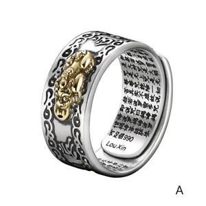 Frauen-amp-Maenner-Ring-Pixiu-Charme-Amulett-Reichtum-Justierbarer-Geoeffneter-Y8Z0