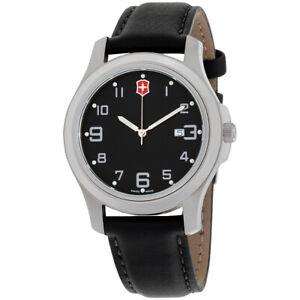 Victorinox-Garrison-Elegance-Black-Dial-Leather-Strap-Men-039-s-Watch-26052CB
