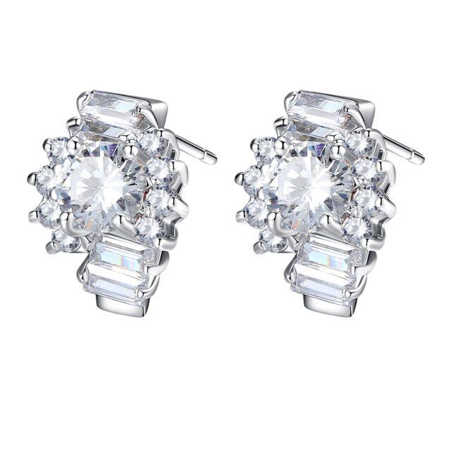 New Jewelry Luxury Silver Stud Earrings With AAA Zircon Crystal For Women Gift