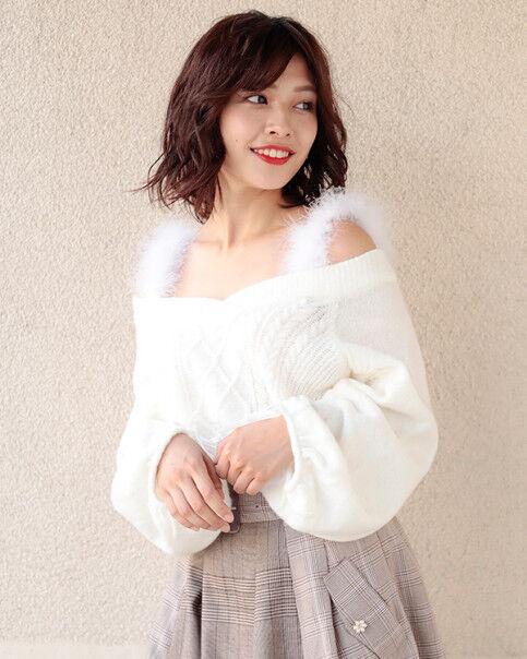 LIZ LISA - Feather Strap Knit Top ( cute kawaii lolita pastel flower )